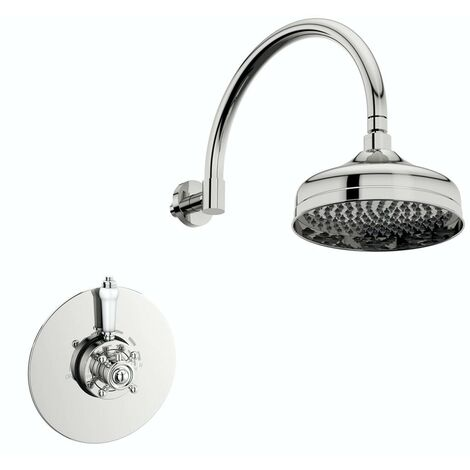 The Bath Co. Dulwich concentric thermostatic valve with wall shower set
