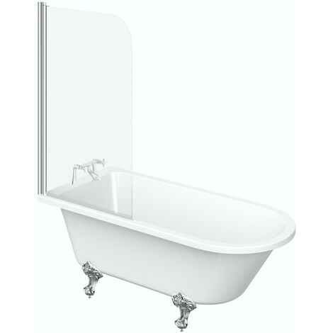 The Bath Co. Dulwich freestanding shower bath 1500 x 780 with screen and bath mixer tap pack