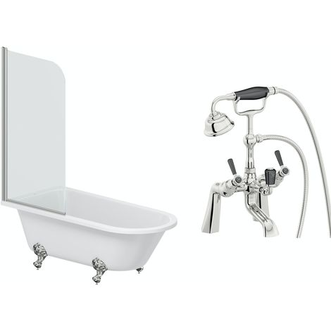The Bath Co. Dulwich freestanding shower bath and bath screen 1500 x 780 with free tap