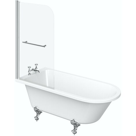 The Bath Co. Dulwich freestanding shower bath and bath screen with rail 1500 x 780
