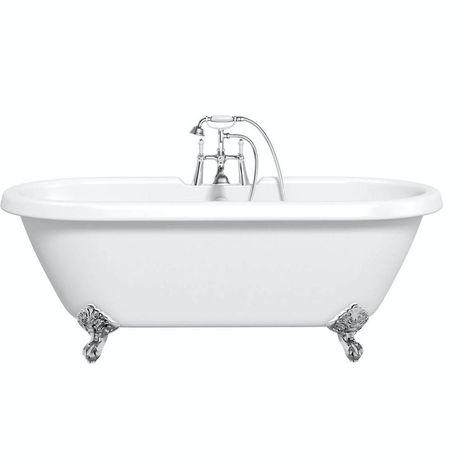 The Bath Co. Dulwich roll top freestanding bath with chrome claw feet 1774 x 805