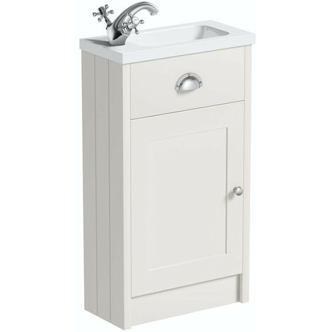 The Bath Co. Dulwich stone ivory cloakroom floorstanding vanity and basin 460mm