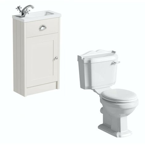 The Bath Co. Dulwich stone ivory cloakroom unit with traditional close coupled toilet