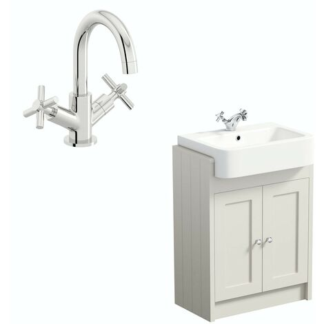 The Bath Co. Dulwich stone ivory floorstanding vanity unit and ceramic semi recessed basin 600mm with tap