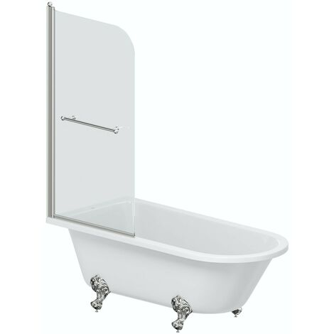 The Bath Co. Dulwich traditional freestanding shower bath with 6mm shower screen and rail 1710 x 780