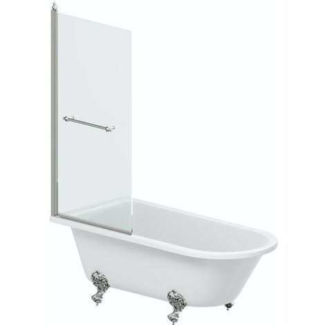 The Bath Co. Dulwich traitional freestanding shower bath with 8mm shower screen and rail 1710 x 780