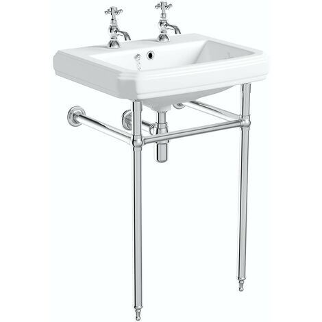 The Bath Co. Traditional washstand with Dulwich 2 tap hole basin 615mm