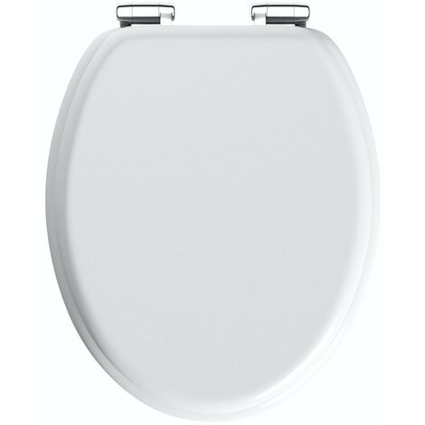 The Bath Co. traditional white engineered wood toilet seat with bottom fixing soft close hinge