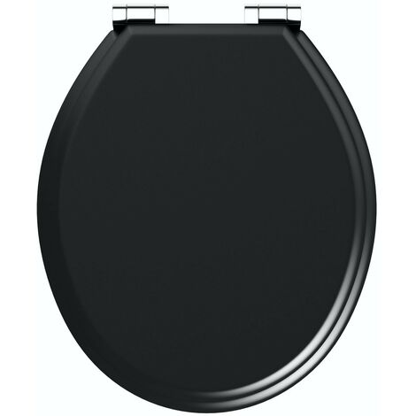 "main image of ""The Bath Co. universal soft close wooden seat matt black"""