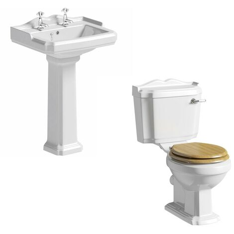 The Bath Co. Winchester cloakroom suite with solid wood oak seat and full pedestal basin 600mm