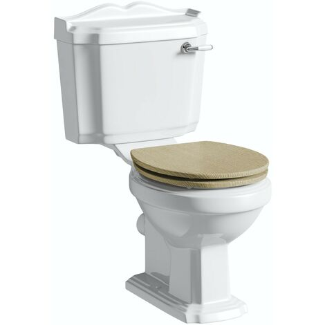 The Bath Co. Winchester close coupled toilet with soft close wooden toilet seat limed oak