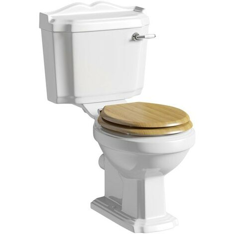 The Bath Co. Winchester close coupled toilet with solid wood oak seat