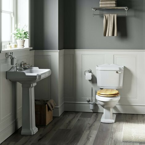 The Bath Co. Winchester complete cloakroom suite with MDF seat and full pedestal basin 600mm