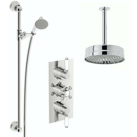 The Bath Co. Winchester concealed thermostatic mixer shower with ceiling arm and slider rail