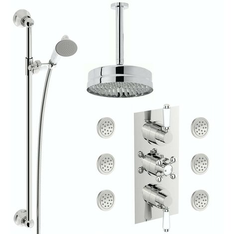 The Bath Co. Winchester concealed thermostatic mixer shower with ceiling arm, slider rail and body jets