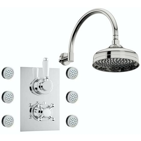 The Bath Co. Winchester concealed thermostatic mixer shower with wall arm and body jets