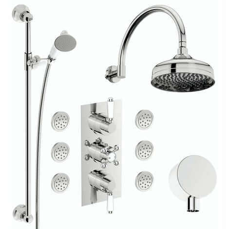 The Bath Co. Winchester concealed thermostatic mixer shower with wall arm, slider rail and body jets