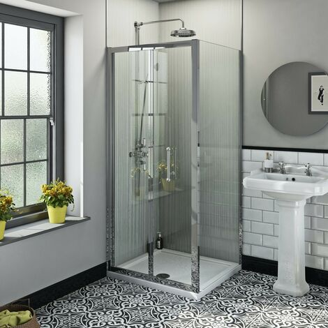 The Bath Co. Winchester traditional 6mm rectangular bifold shower enclosure 800 x 760