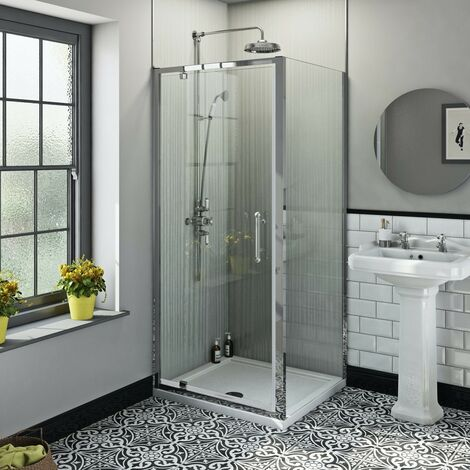 The Bath Co. Winchester traditional 6mm rectangular pivot shower enclosure 800 x 900