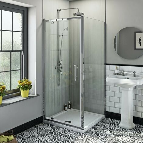 The Bath Co. Winchester traditional 6mm square pivot shower enclosure 900 x 900 with dual valve riser shower system