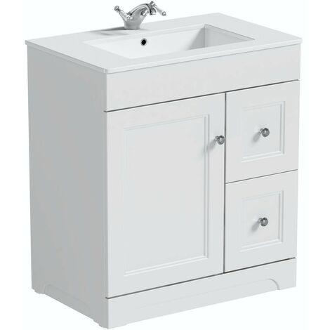 The Bath Co. Winchester white floorstanding vanity unit and quartz-top basin 760mm