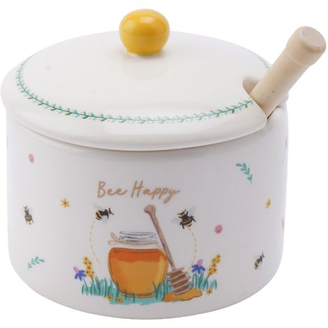 The Beekeeper Bee Happy Honey Pot & Drizzler (One Size) (White)