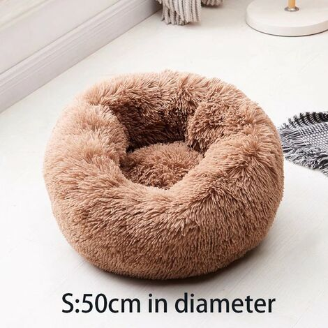 """main image of """"The chat cushion donut basket basket, dog basket cat bed is super soft, comfortable and cute, suitable for medium-sized cats, dogs and small dogs, s, 50 cm, brown"""""""