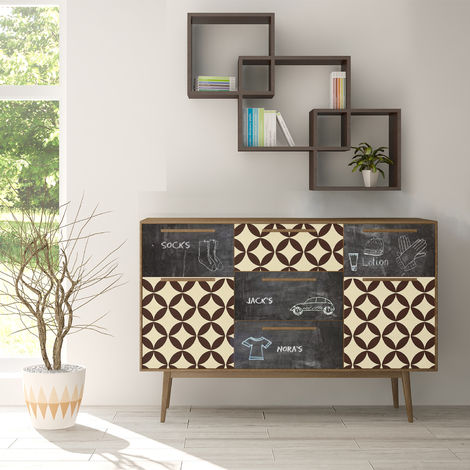 The Creative Kit: Back to 50s pattern and blackboard Self-Adhesive Decal Furniture Wrap