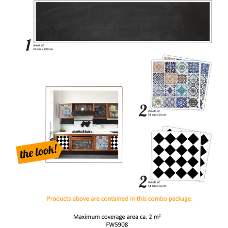 The Creative Kit: Vintage tiles and blackboard Self-Adhesive Decal Furniture Wrap