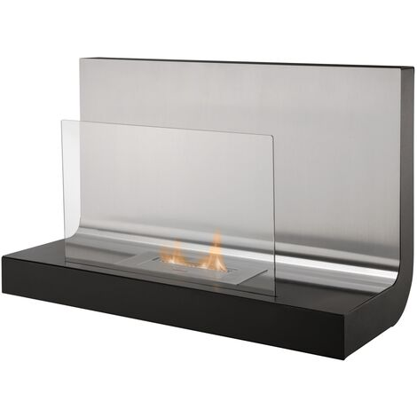 The Crescent Wall Mounted Bio Ethanol Fire in Stainless Steel, 31 Inch