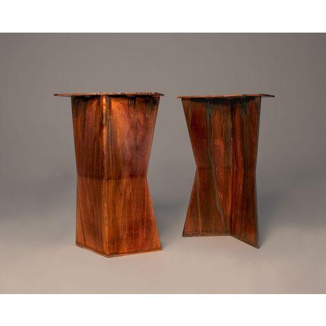 The Gatekeeper Leg Butterfly Style Steel Table Legs Distressed Copper
