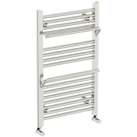 The Heating Co. Rohe chrome heated towel rail with hangers 1200 x 500
