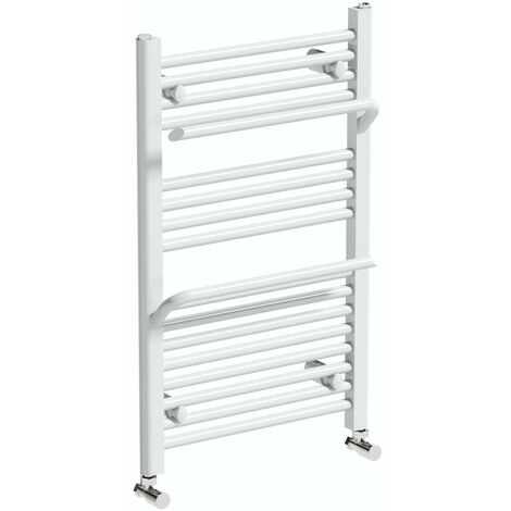 The Heating Co. Rohe white heated towel rail with hangers 800 x 500