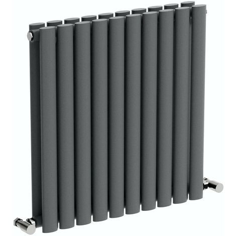 The Heating Co. Salvador anthracite grey double horizontal radiator 600 x 1000