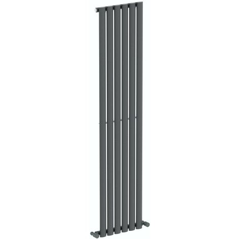 The Heating Co. Salvador anthracite grey single vertical radiator 1600 x 600