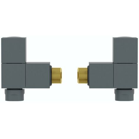 """main image of """"The Heating Co. Square angled anthracite grey radiator valves"""""""