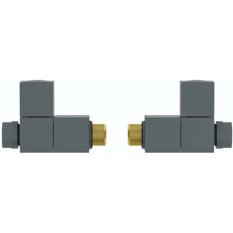 The Heating Co. Square straight anthracite grey radiator valves