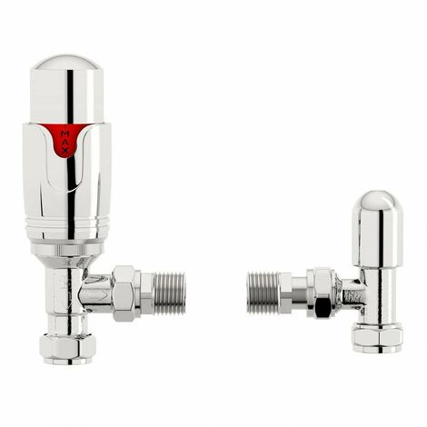 """main image of """"The Heating Co. Thermostatic chrome angled radiator valves with lockshield"""""""