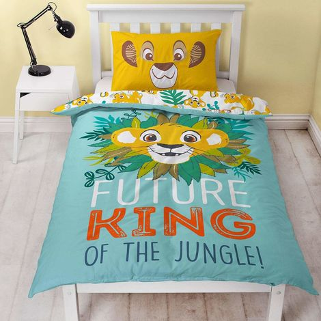 The Lion King Hakuna Panel Duvet Cover Set (Single) (Blue/Yellow)