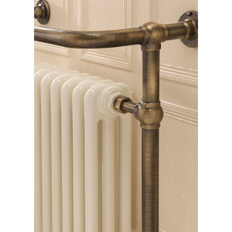 The Radiator Company Chalfont Steel Floor Standing Designer Heated Towel Rail 938mm x 675mm Antique Bronze