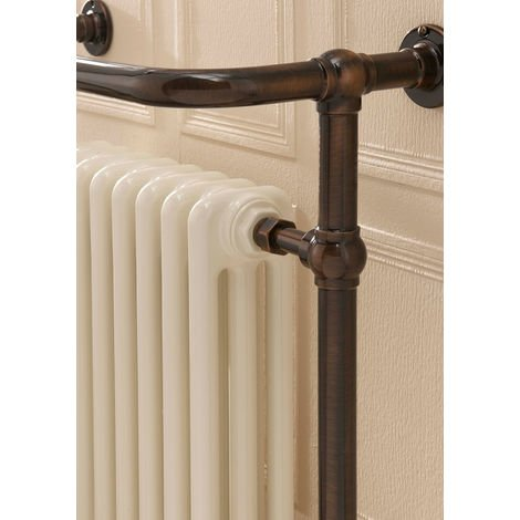 The Radiator Company Chalfont Steel Floor Standing Designer Heated Towel Rail 938mm x 675mm Antique Copper