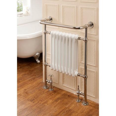 The Radiator Company Chalfont Steel Floor Standing Designer Heated Towel Rail 938mm x 675mm Nickel