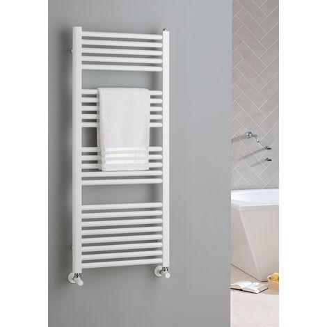 The Radiator Company Lupin Steel Vertical Designer Heated Towel Rail 1210mm x 500 White