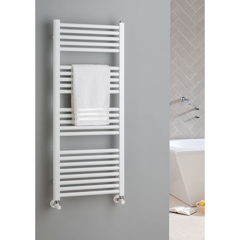 The Radiator Company Lupin Steel Vertical Designer Heated Towel Rail 1497mm x 600 White