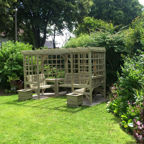"""main image of """"The Riviera Seated Pergola, wooden garden corner arbour seat with table and trellis – Assembly included"""""""