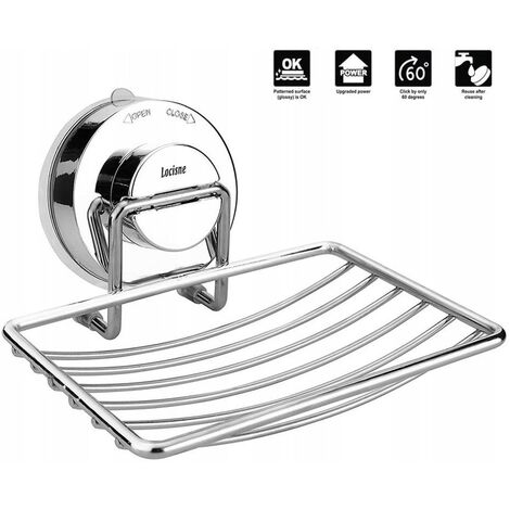The wall-mounted basket of soapbox is stainless steel, stainless steel shower, suction cup, soapbox, deep basket, fast drying, no drilling in the bathroom and the kitchen