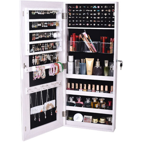 The Whole Surface PVC Film Wall Hanging Door With Lock Jewelry Cabinet Fitting Mirror Cabinet White