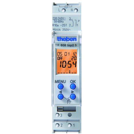 theben tr608top2sblister   interrupteur horaire digital 1 module 24h 7j 1 cinv 56 pas