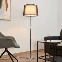 Thedo - lámpara de pie con pantalla de tela, cromo