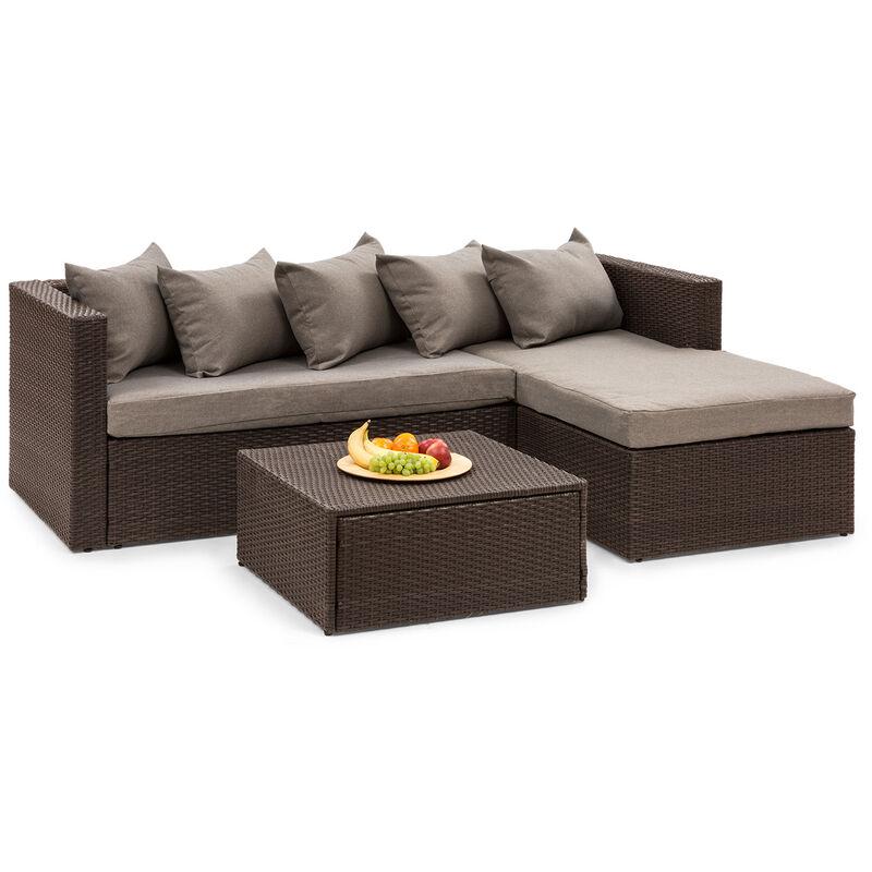 Blumfeldt - Theia Lounge Salon de jardin complet polyrotin marron